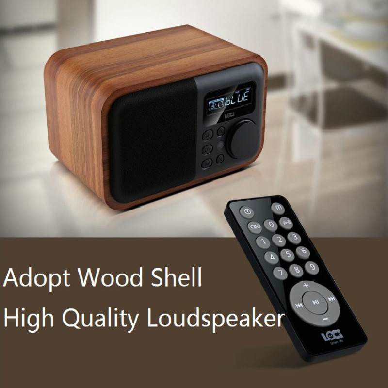 Retro Wireless Bluetooth Speaker Multifunction Wooden Portable 5W Home LED Screen Alarm Clock FM <font><b>Radio</b></font> Stereo Loudspeaker Bass image