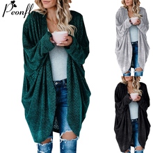 Knitted Coat Cardigans Green Plus-Size Women Sweater Long-Sleeve Casual Fashion Solid