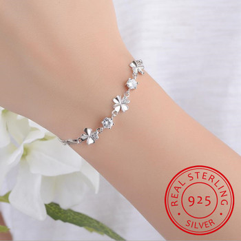 New Fashion 925 Sterling Silver Women Bracelets Jewelry Top Quality Crystal Clover Female Anklets For Girl Party Bijoux lukeni latest female heart bracelets jewelry top quality silver 925 sterling silver anklets for women party accessories lady