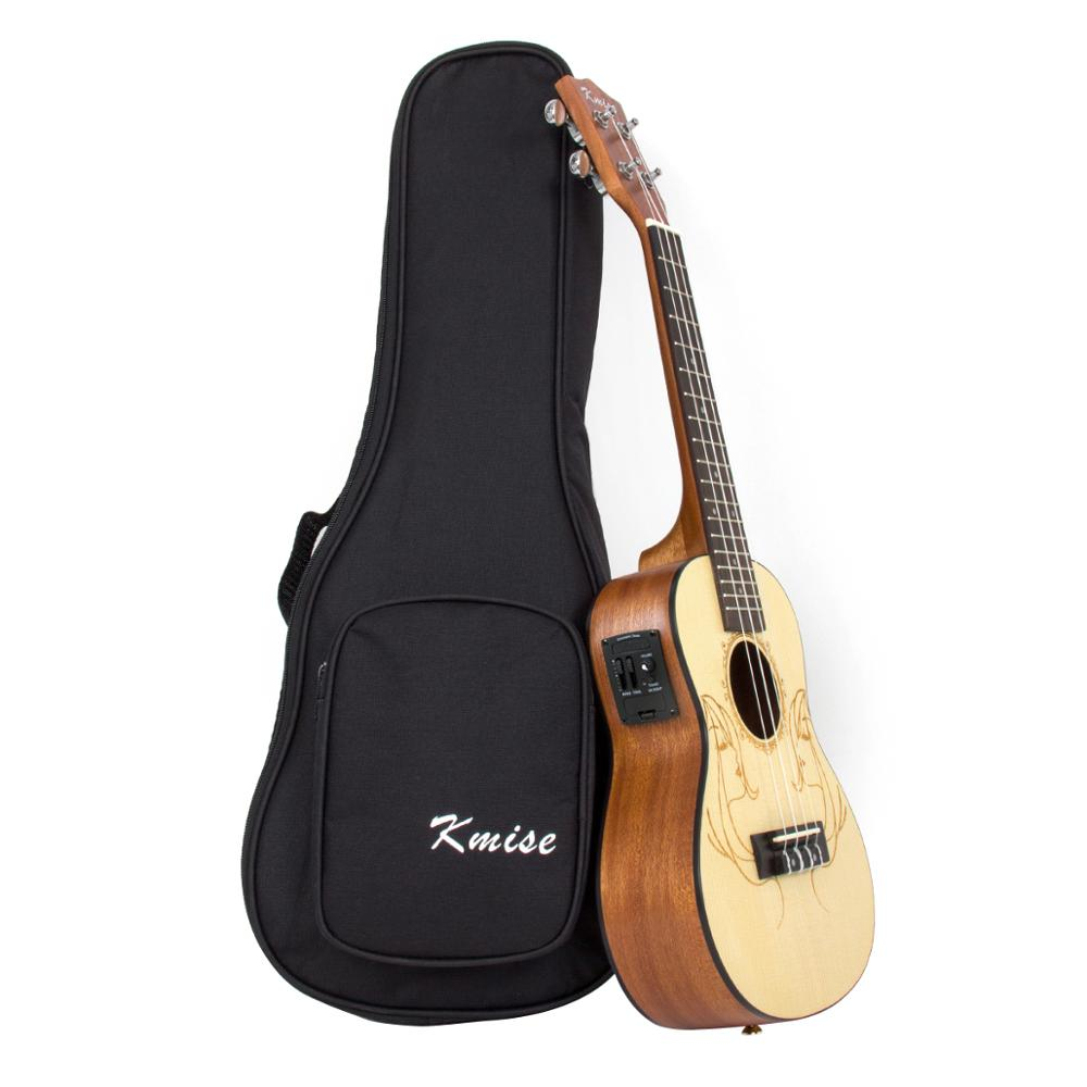 Kmise Electric Acoustic Ukulele Concert Solid Spruce Ukelele Uke 23 Inch 18 Fret With Gig Bag