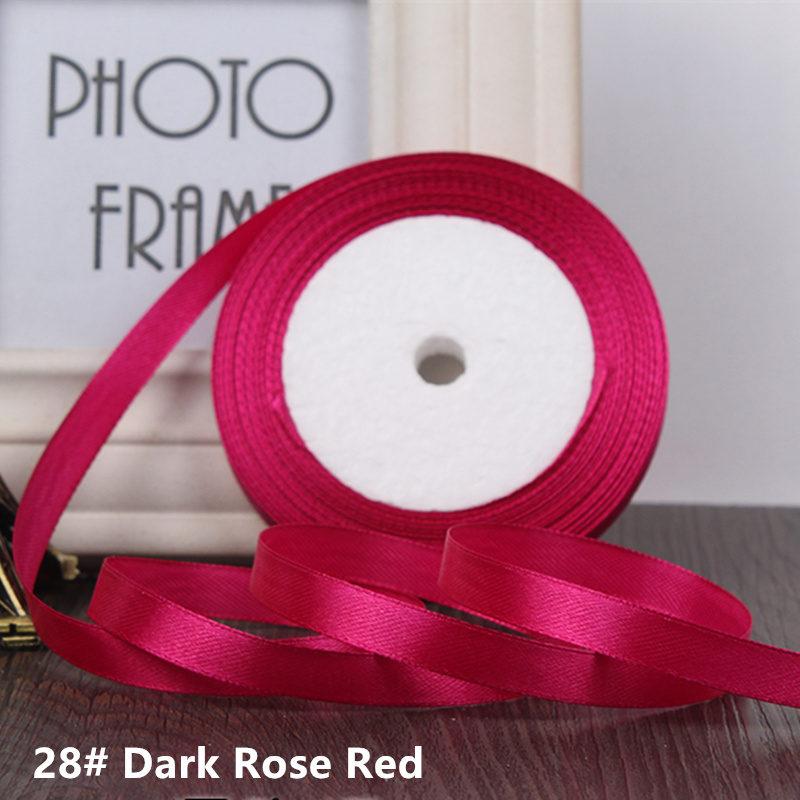 25 ярдов/рулон 6 мм 10 мм 15 мм 20 мм 25 мм 40 мм 50 мм шелковые атласные ленты для рукоделия бант ручной работы подарочная упаковка вечерние свадебные декоративные - Цвет: 28  Dark Rose red