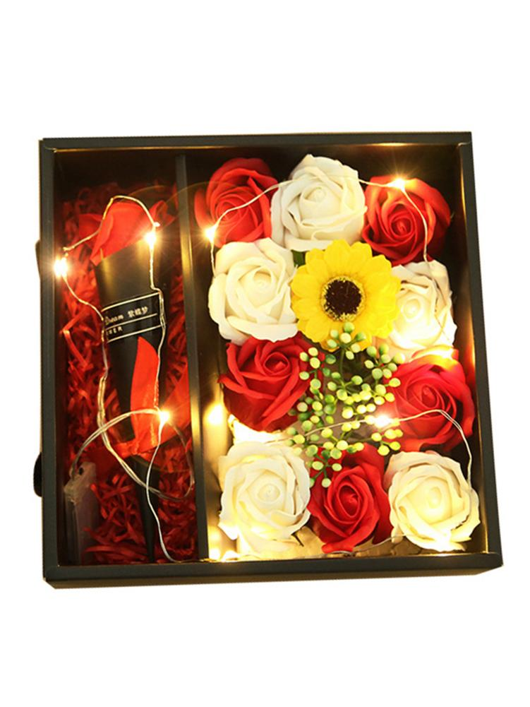 Creative Led Light String Rose Flower Soap Gift Box Christmas Valentine' Day Mother' S Day Romantic Beautiful Wedding Gift