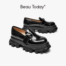 BeauToday Plattform Schuhe Frauen Patent Leder Wohnungen Alligator Muster Runde Kappe Schnalle Dekoration Damen Slip Auf Handgemachte 27738