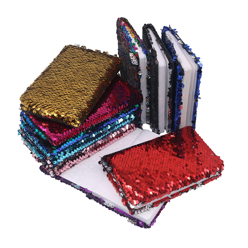 1 pcs Creative Sequins <font><b>Notebook</b></font> Notepad Glitter Diary Memos Stationery Office Supplies Stationery 78 Sheets Small Gift image