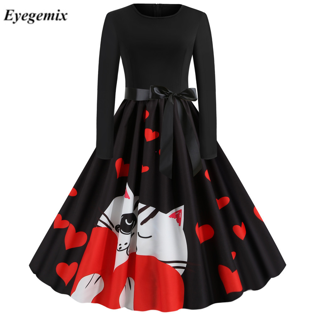 2020 New Women Lovely Cat Print Heart Vintage Dress Long Sleeve Retro Rockabilly Swing Vestidos Femme Valentines Day Party Dress