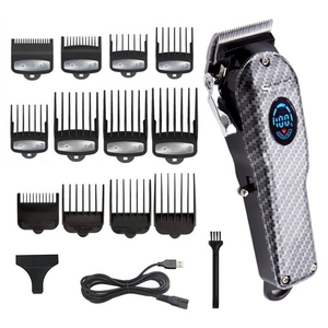Image 1 - ספר אלחוטי גוזז שיער מקצועי גברים שיער גוזם LCD חשמלי שיער מכונת חיתוך usb נטענת תספורת