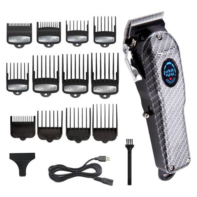 ספר אלחוטי גוזז שיער מקצועי גברים שיער גוזם LCD חשמלי שיער מכונת חיתוך usb נטענת תספורת