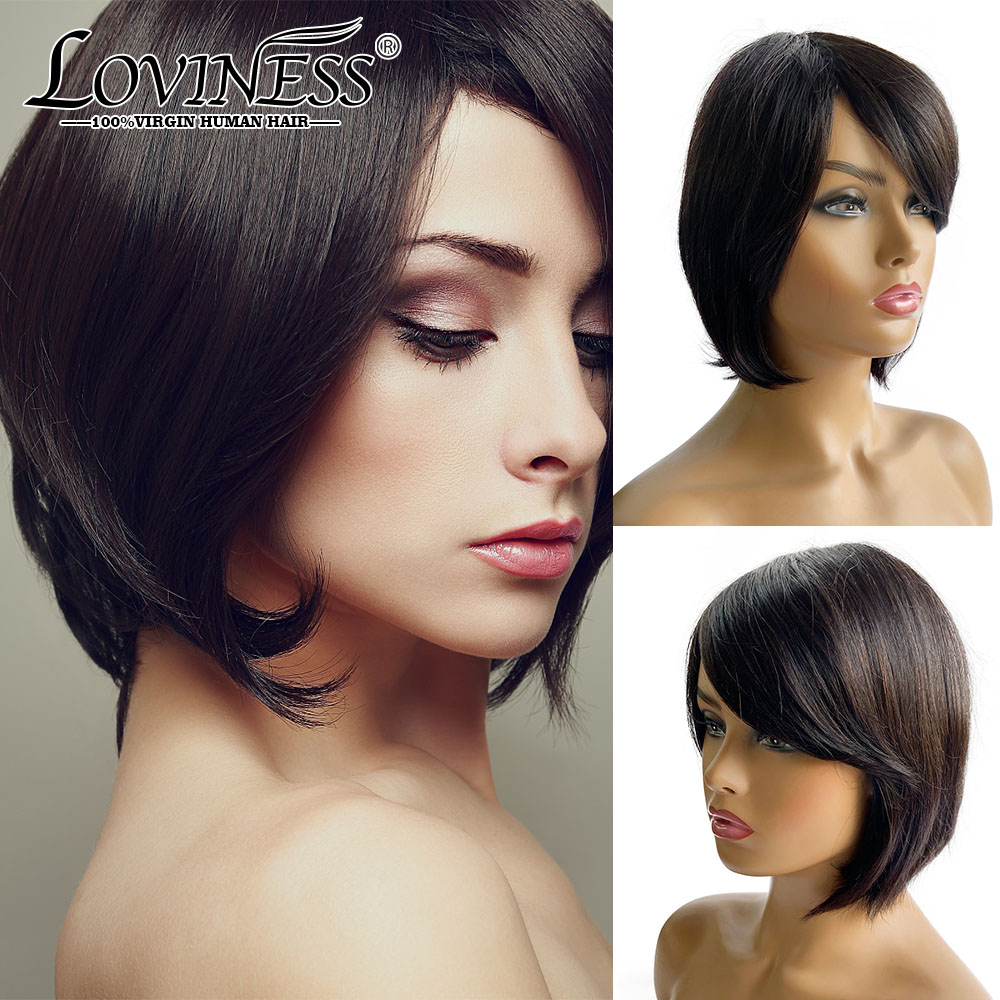 Loviness Short Curly Pixie Cut Bob Human Hair Full Wig Machine Cheap Hair With Bang Black Cosplay Remy Straight Pre Plucked Wig