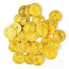 50 pçs pirata tesouro plástico moeda adereços bitcoin moeda para festa de halloween cosplay adereços crianças festa brinquedos tesouro moeda jogar dinheiro