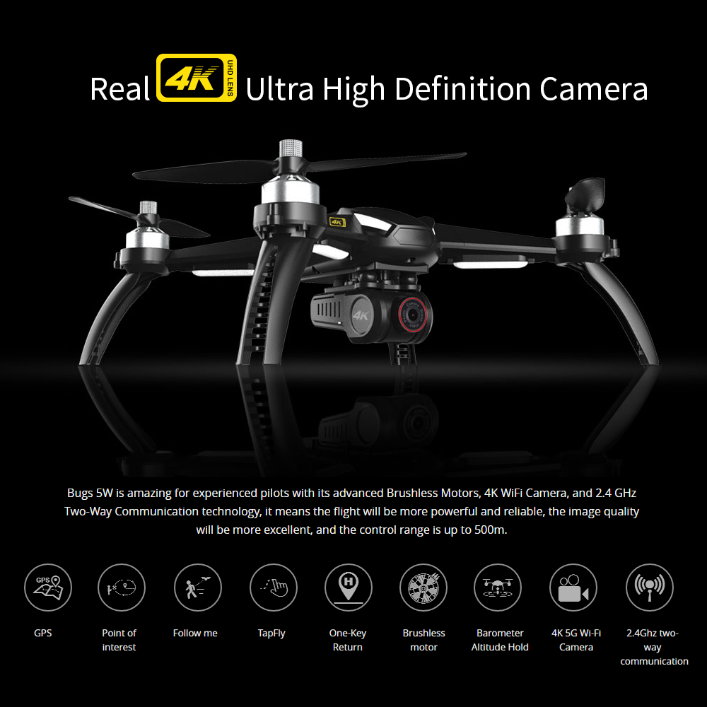 MJX Bugs 5W B5W Professional GPS RC Quadcopter with Camera 4K HD 5G Wifi Gesture Photo Brushless RC Drone VS H501S Pro MJX B4W 2