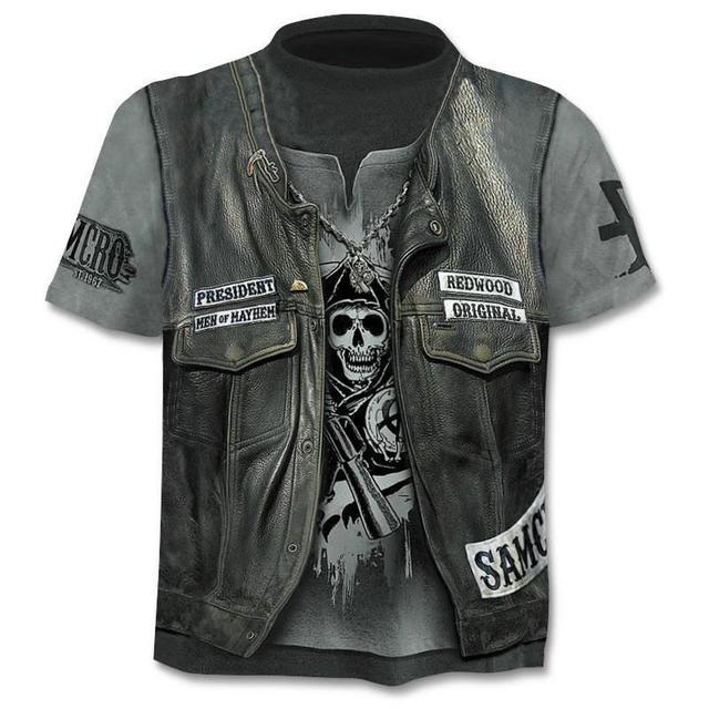 New Mens Skull T shirts Brand punk  style finger skull 3Dt- shirts Men Tops Hip hop 3d print skull punisher T-shirt dropshipping 10