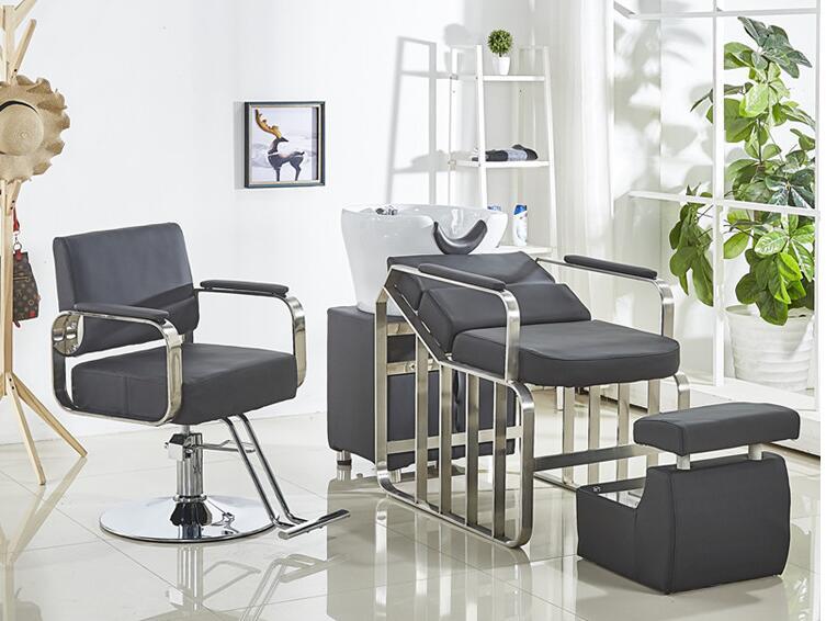 Simple Barbershop Chair Web Celebrity Hair Cutting Chair Beauty Salon Chair Stainless Steel Hair Chair Chair Chair Lift Shampoo