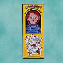 Chucky-pin esmaltado de caja para un buen chico, broche de horror, halloween, para un mejor amigo