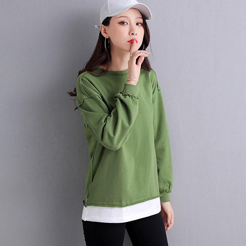 Fashion Slim Pullover Bottoming Shirt Ladies Solid Color Sweatshirt