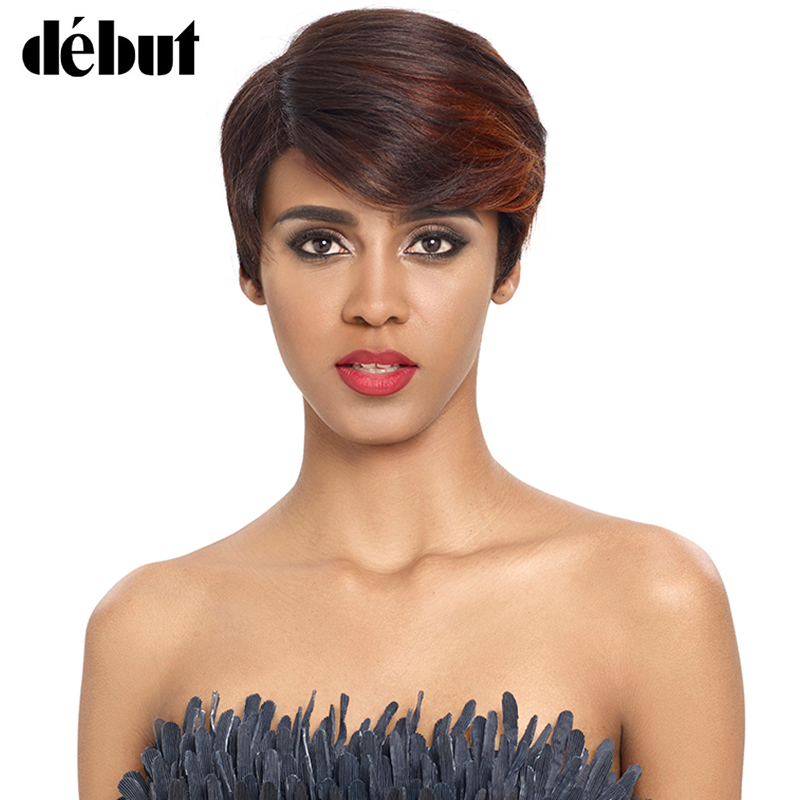 Debut Short Human Hair Wigs For Women L Part Lace Wigs Natural Wave Pixie Cut Womens' Wigs Remy Brazilian Hair Free Shipping