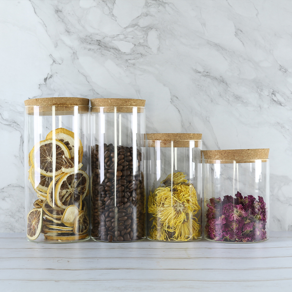 High borosilicate Glass Storage Jar with Cork Lid Cylinder Containers Food