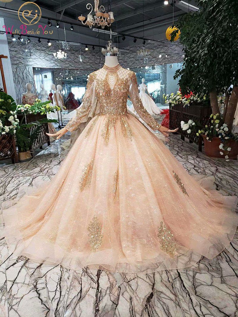 Full Sleeves Prom Dresses Luxury Muslim Pink High Neck Lace Beading Pearl Ball Gown 2020 Evening Formal Party Walk Beside You