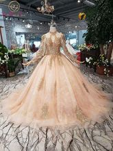 Pełne rękawy suknie balowe luksusowe muzułmanin różowy na szyję koronki wysadzane perłami suknia balowa 2020 wieczorowa, formalna Party spacer obok ciebie