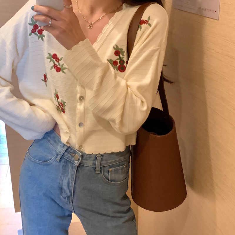 Neploe floral bordado de malha cardigan feminino 2020 coreano camisola superior jaqueta botões finos manga comprida com decote em v roupa de malha