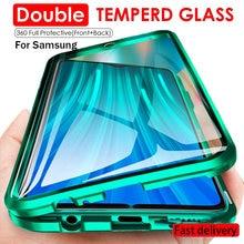 360 Proteção completa Caso Magnética Para Samsung S10 S20 S9 S8 FE A71 A51 A70 50 M51 21 31 Nota 10 20 9 8 Plus Uitra De Vidro Duplo