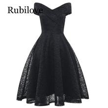 Rubilove Sexy Summer Party V-Neck Dress A-line Short Sleeve Robe Vintage Retro Casual Rockabilly Black Lace Women