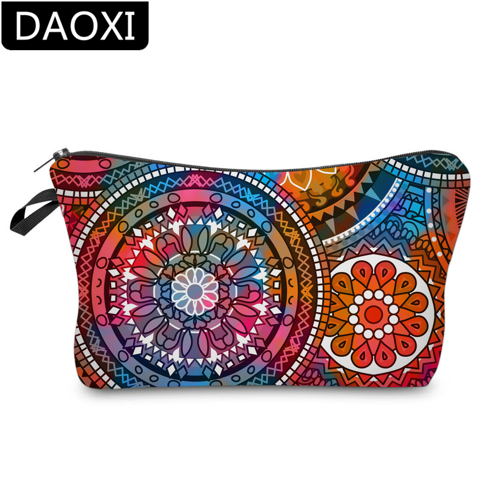 DAOXI Mandala Makeup Bag Adorable Girls Printing Colorful Flower Small Cosmetic Bag For Women DX51555