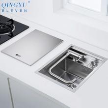 Sink-Cover Counter Kitchen-Sink Small-Size 304-Stainless-Steel Handmade Hidden New Bar