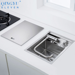 New Nanometer 304 Stainless Steel Handmade kitchen Bar Counter Sink Cover hidden Single Kitchen Small Size Kitchen Sink