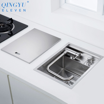 New Nanometer 304 Stainless Steel Handmade Kitchen Bar Counter Sink Cover Hidden Single Kitchen Small Size Kitchen Sink