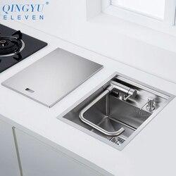 Nouveau nanomètre 304 en acier inoxydable à la main cuisine Bar comptoir évier couverture cachée unique cuisine petite taille cuisine évier