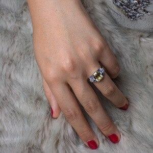 Image 5 - PANSYSEN קסמי 100% 925 סטרלינג כסף 8x10mm נוצר moissanite רובי ספיר חן טבעות נשים חתונה תכשיטים