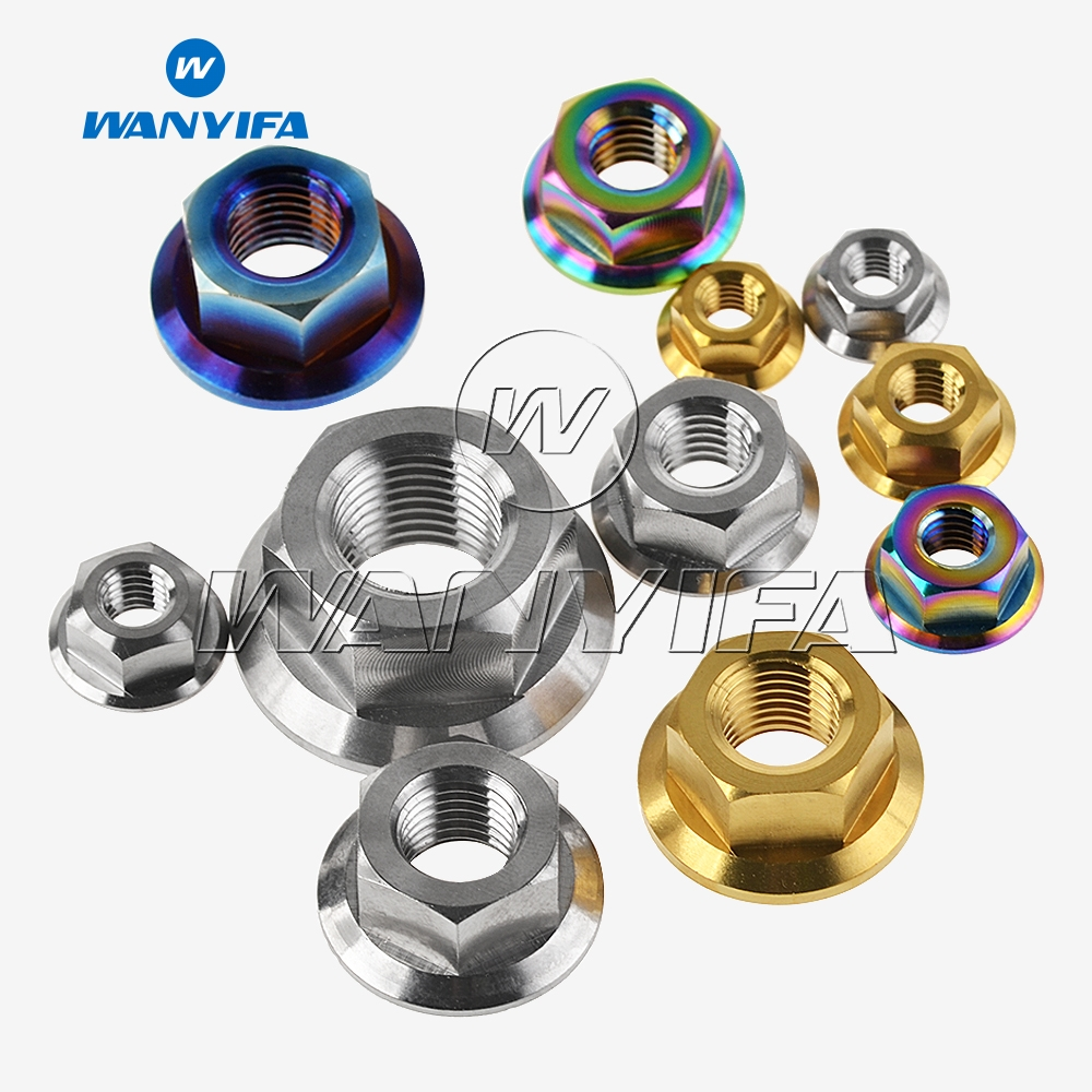1pcs TC4 Titanium M5 M6 M8 M10 M12 M14 M16 M18 Motorcycle Flange Screw Nut