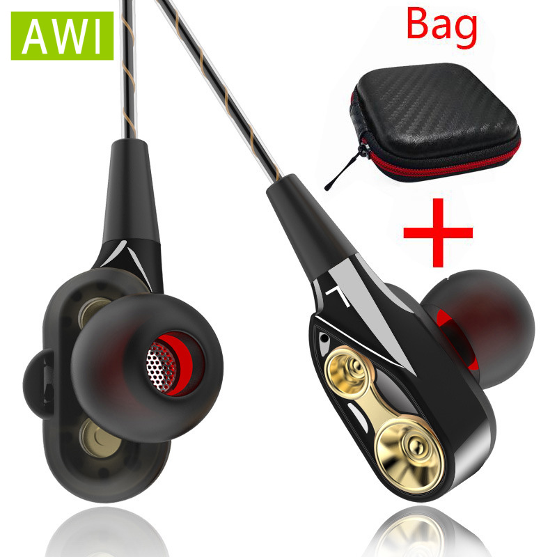 AWI Double Unit Drive Earphone with Volume Control Subwoofer Gaming Headsets Sport Earbuds Headphones for Phone fones de ouvido