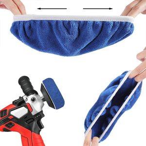 Image 4 - Parlatıcı ped Bonnet 10 adet (9 to10 inç) mumluk Bonnet seti araba parlatma pedi kiti Mix paketi olmayan dokuma kumaş yün mikrofiber