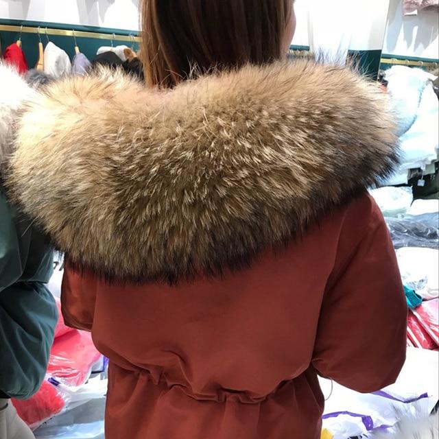 Janveny-manteau de duvet de plumes pour femme, énorme manteau en fourrure de raton laveur, Parka à capuche, hiver 2020 2