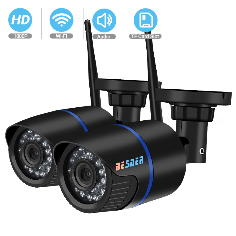 BESDER FHD 1080P Wireless Audio IP Camera onvif iCsee P2P RTSP Motion Detected Waterproof Bullet WiFi Camera with SD Card Slot