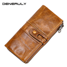 New Genuine Leather Wallet Women Handmade Vintage Luxury Brand Cartera Mujer Ladies Leather Wallets Long Rfid Wallet Protection