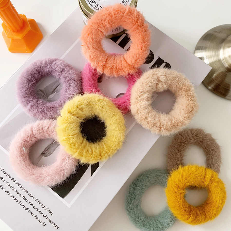 Ruoshui Candy Color Pompom Imitation Rabbit Hair Ties Korean Style Scrunchies Solid Rubber Band Rope Girls Hair Accessories