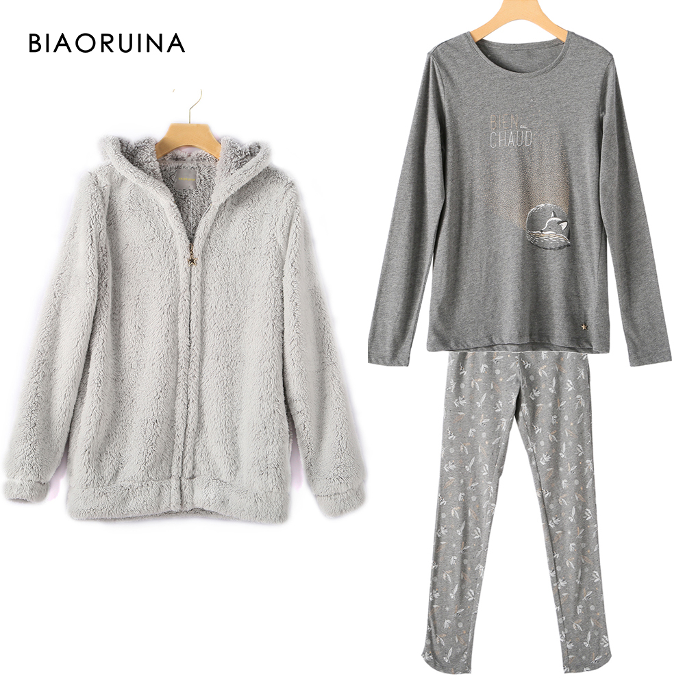 BIAORUINA Women 3 Piece Pajama Set Sequines Printed Long-Sleeved T-shirt + Casual Pant + Warm Fluffy Hooded Coat Sleeping Set