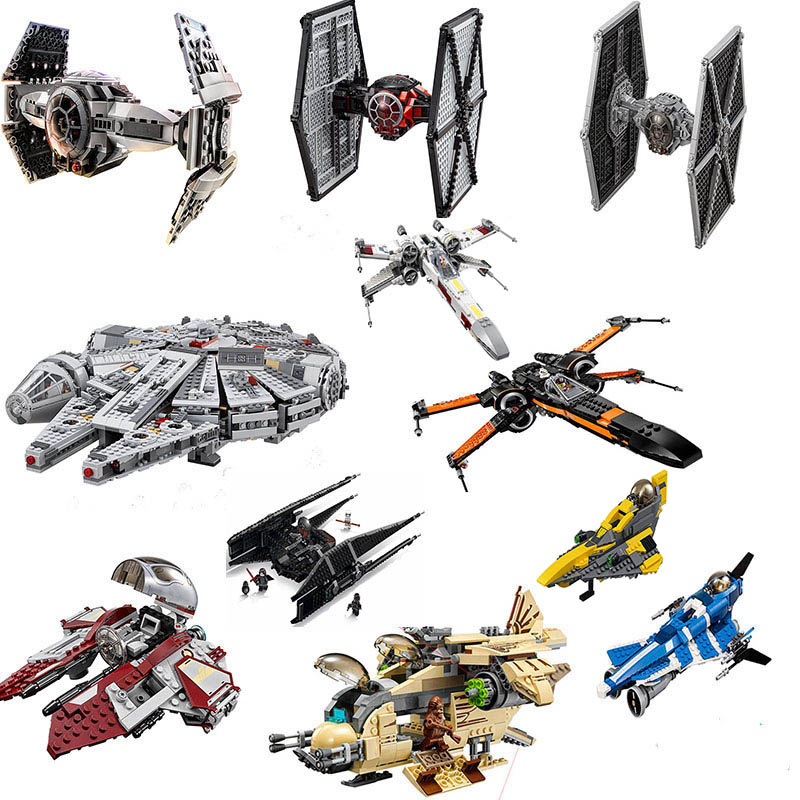Compatible Lepining Star Wars Fighter Block Set Spaceship Model Starwars Building Brick Toy For Kids With Manual No Box