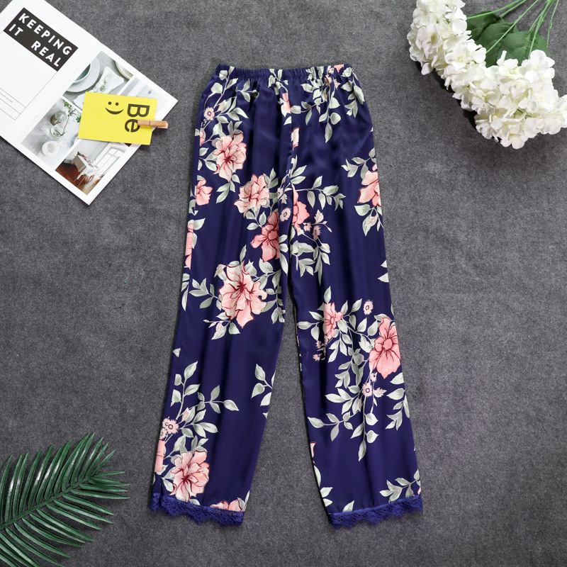 New Autumn Women Satin Pyjamas Bottoms Sleep Trousers Loose Casual Pajamas Nightwear Lounge Pants Sleepwear Homewear M-XXL