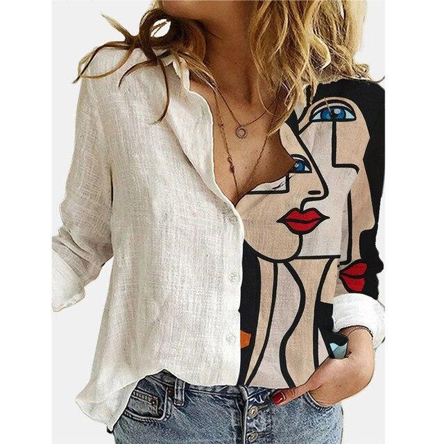 2021 Spring Summer Elegant Blouses Women's Vintage Print Long Sleeve Shirts Ladies Fashion Casual Tops Loose Lapel Blouse Блузки 4