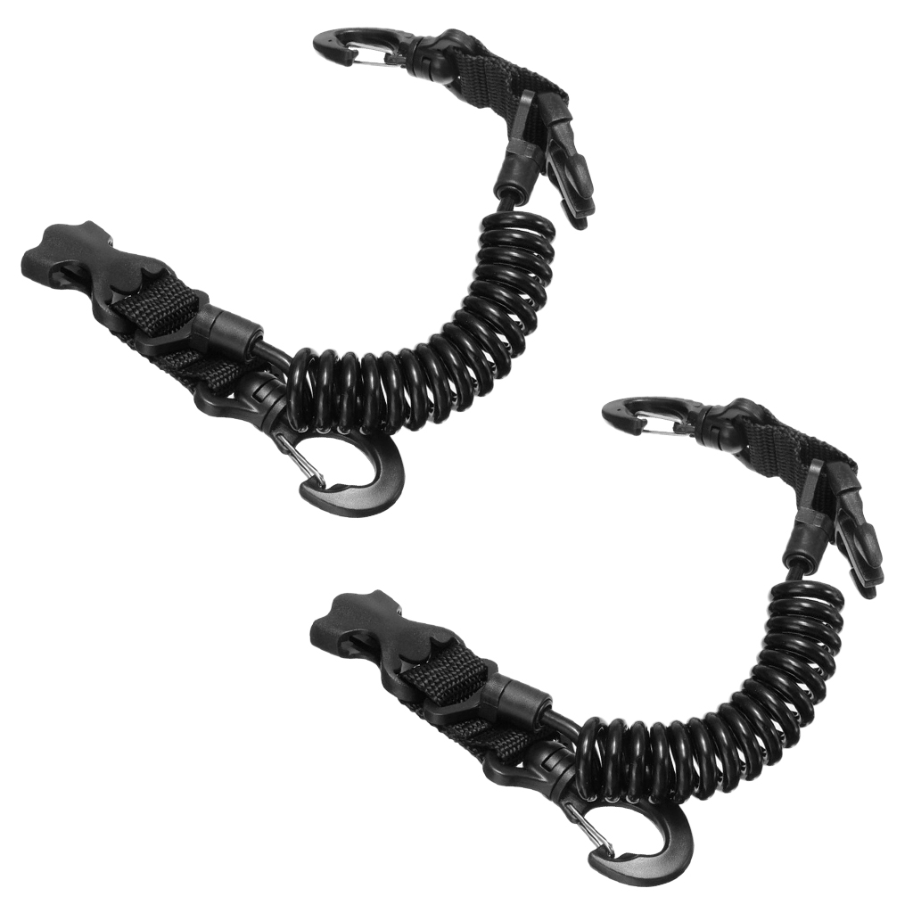 2 Pieces Scuba Diving Dive Camera Light Spring Coil Lanyard Nylon Webbing Strap With Quick Release Buckle And Clips