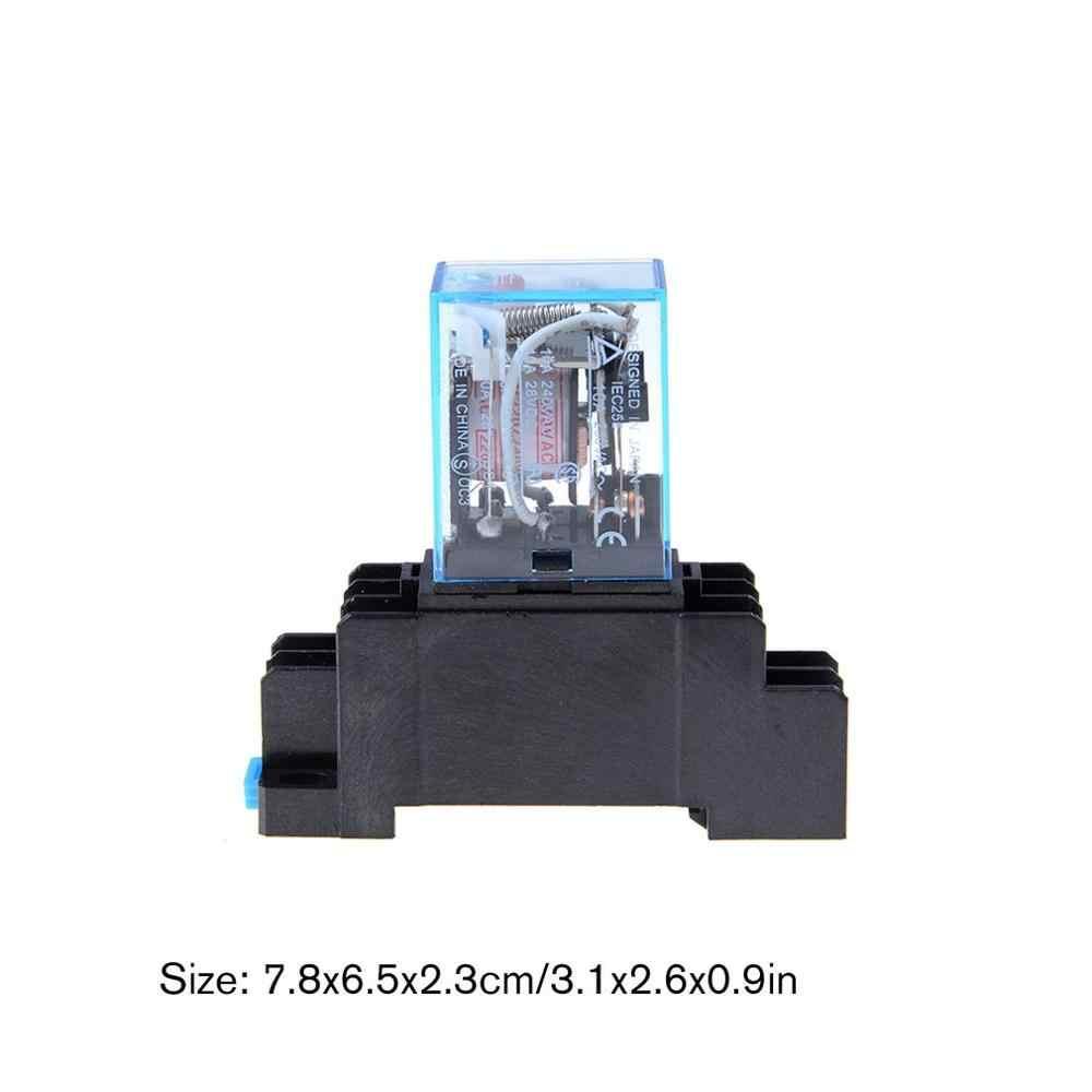 LY2N-J JQX-13F Modèle DPDT 10A DC12V DC24V DC220V AC12V AC24V AC110V AC220V AC380V Bobine 8 Broches 35mm Rail DIN Relais De Puissance + Prise