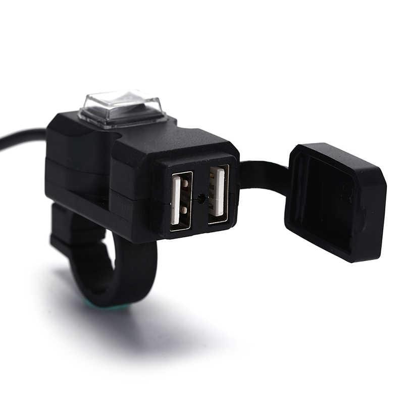 รถจักรยานยนต์ชาร์จอะแดปเตอร์แหล่งจ่ายไฟสำหรับโทรศัพท์รถจักรยานยนต์ GPS MP4 พอร์ต USB Dual 12V กันน้ำ Handlebar
