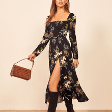 Spring and autumn women dress casual flower print square col