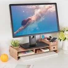 Wood LCD Desktop PC Monitor Riser Stand Desk Home Office Desk Organizer for Computer Desktop Laptop Stand Space Saving
