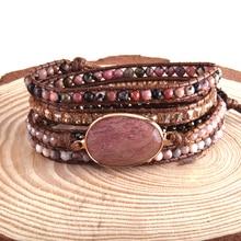 RH Fashion Bohemia Jewelry Beaded Boho Armbander Natural Stones Charm 5 Strands Woven Wrap Bracelets Dropship