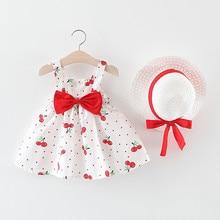 Новинка 2021, платье принцессы без рукавов в горошек с вишней для маленьких девочек, наряды с бантом и шапкой, Модный летний комплект детской о...