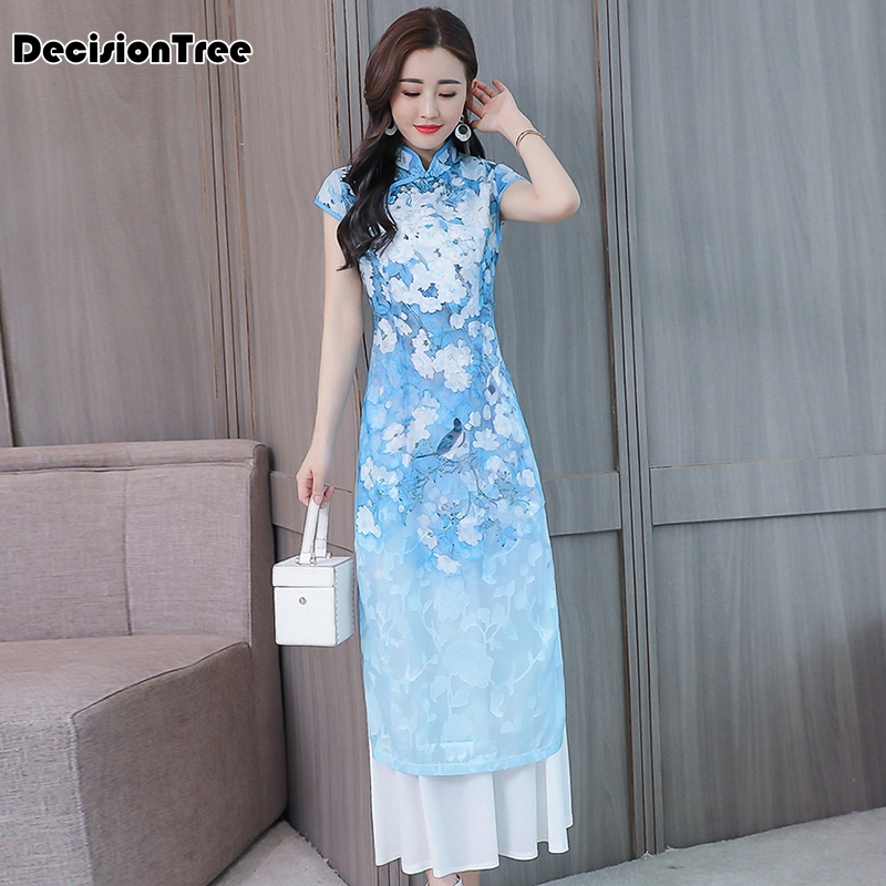 2019 Cheongsam Ao Dai Dress Folk Style Vietnam Robe Chiffon Vietnam Clothing Dress Stand Collar Oriental Cheongsam Modern